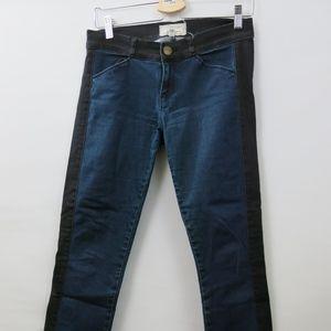 Current/Elliott Dark Wash Black Embroidered Jeans